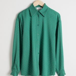 & other stories printed green button down